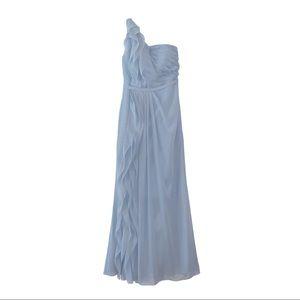 Azazie Sharon Dusty Blue Formal Ruffle Dress Sz 2
